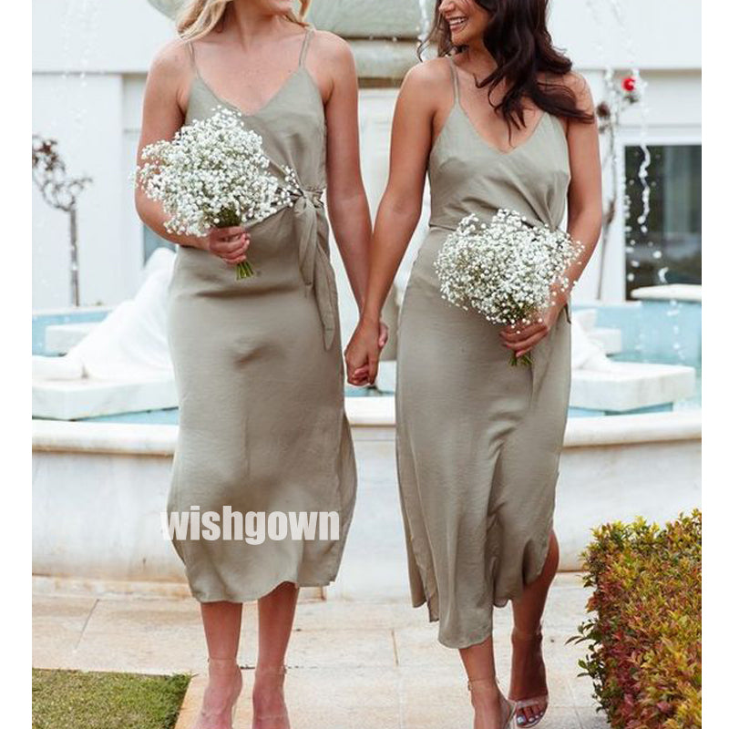 Elegant Spaghetti Strap Chiffon Knee-length Bridesmaid Dresses, YPS150