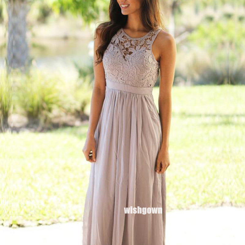 Elegant Halter Lace Chiffon Floor-length Bridesmaid Dresses, YPS151