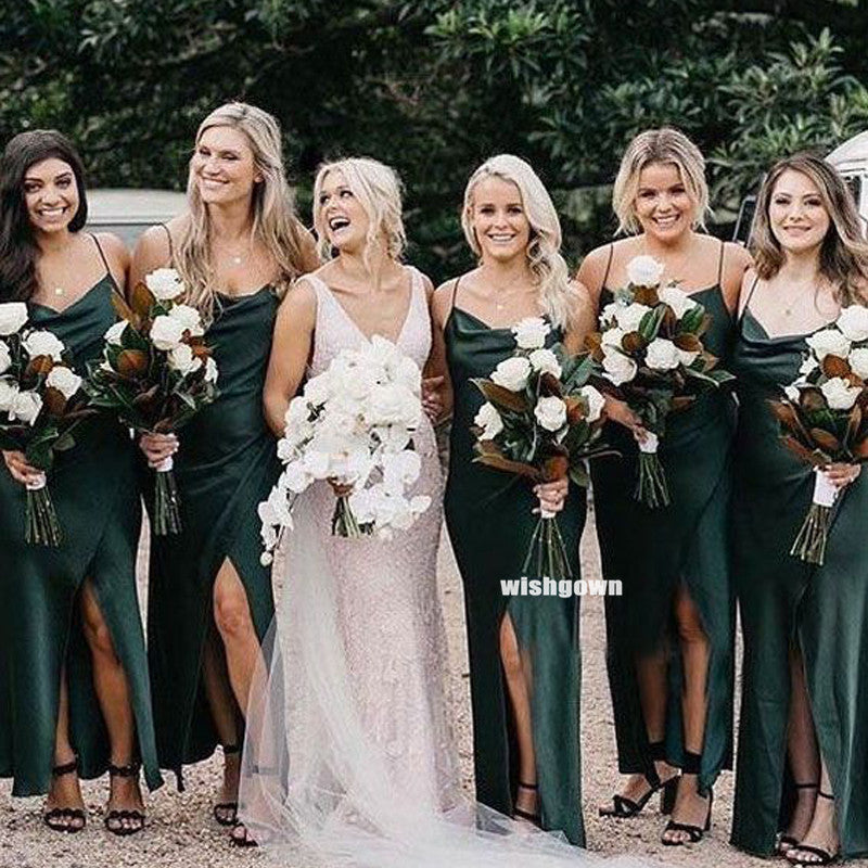 Elegant Dark Green Spaghetti Strap Bridesmaid Dresses, YPS152