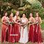 Pretty Red V-neck Velet Long Bridesmaid Dresses, YPS153