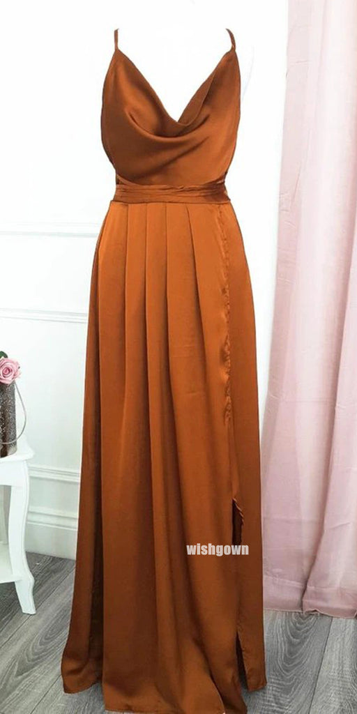 Pretty V-neck Side Split Long Bridesmaid Dresses, YPS154