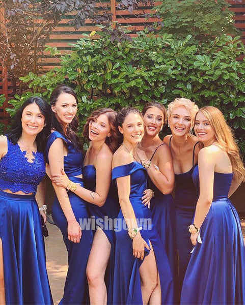 Royal Blue Mismatches Styles Long Bridesmaid Dresses YPS116