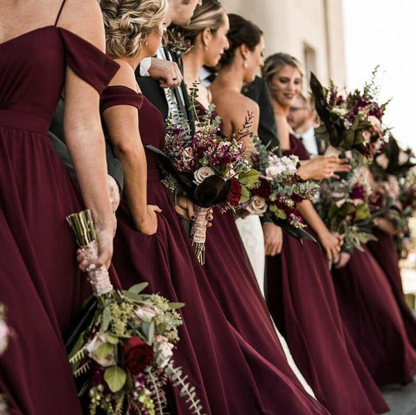Elegant Sweetheart Chiffon Floor Length Cheap Long Bridesmaid Dresses, WG378 - Wish Gown