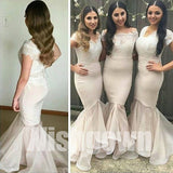 Cap Sleeves Mermaid Sexy Inexpensive Long Wedding Party Bridesmaid Dresses, WG474 - Wish Gown