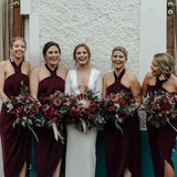 Charming Halter Cheap Long Wedding Party Bridesmaid Dresses, WG303 - Wish Gown