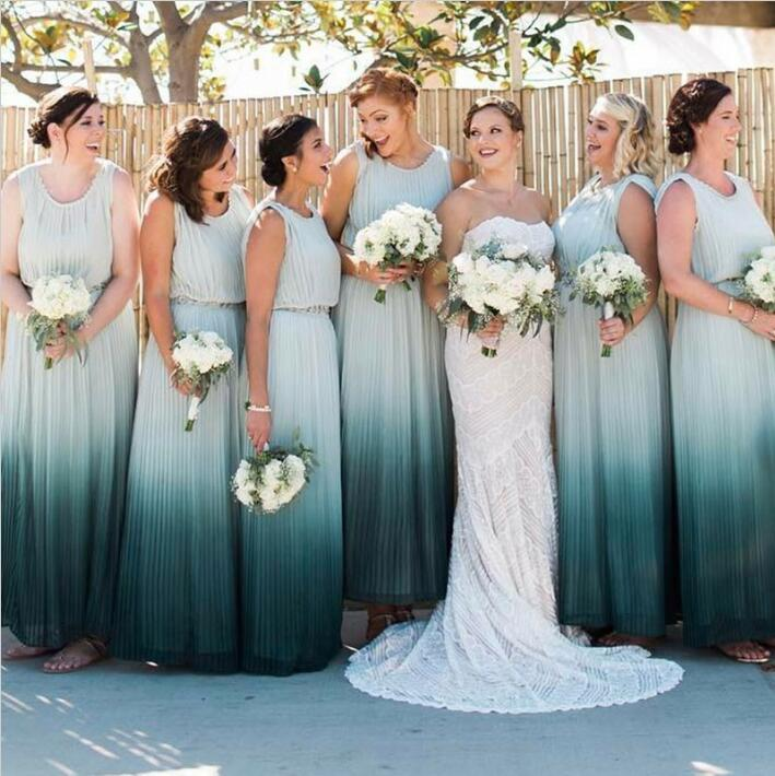 Gradient Long Charming Cheap Formal Wedding Bridesmaid Dresses, WG401 - Wish Gown