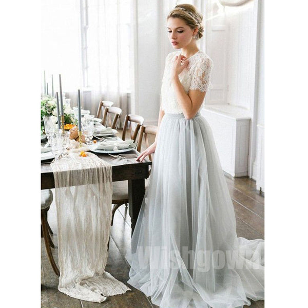 2 Pices Charming Lace Top Tulle Short Sleeves Long Wedding Bridesmaid Dresses, WG467 - Wish Gown
