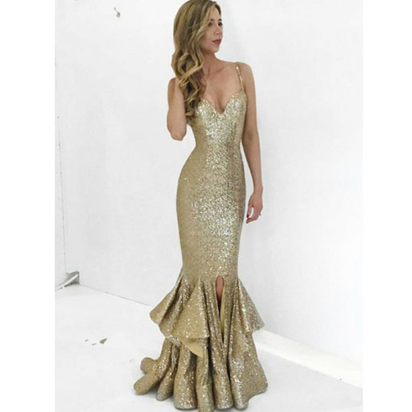 Mermaid Sexy Sequin Spaghetti Strap Long Prom Bridesmaid Dresses, WG461