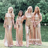 Champagne Gold Sequin Mismatched Long Bridesmaid Dresses YPS109