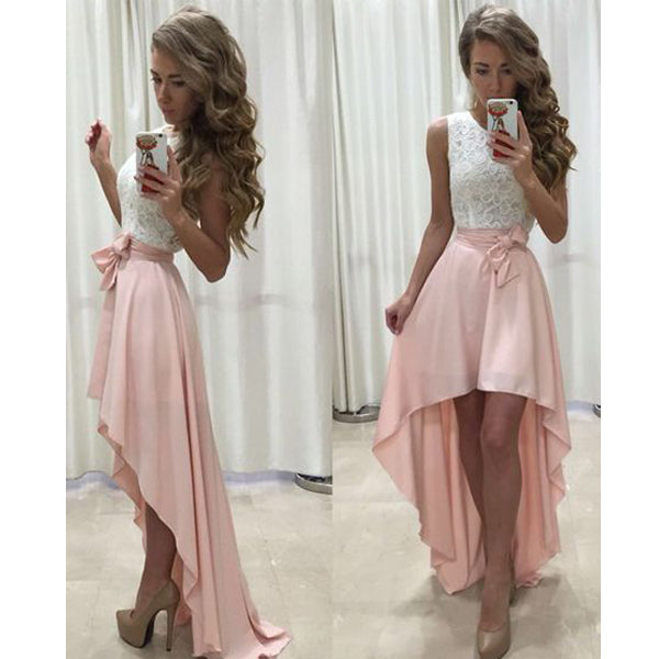 Junior Lace Top Pink High Low Chiffon Cheap Long Prom Bridesmaid Dress, WG37