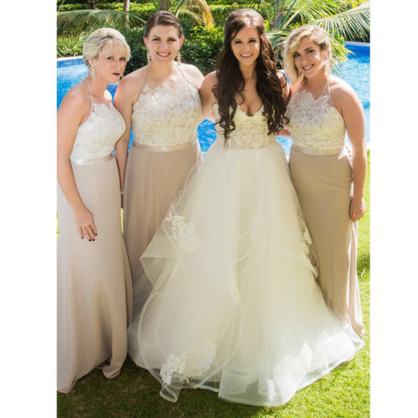 Halter Formal Cheap Simple A-line Long Bridesmaid Dresses for Wedding, PD0156