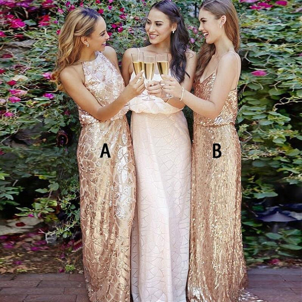 Unique Mismatched Popular Inexpensive Sequin Long Bridesmaid Dresses, WG108