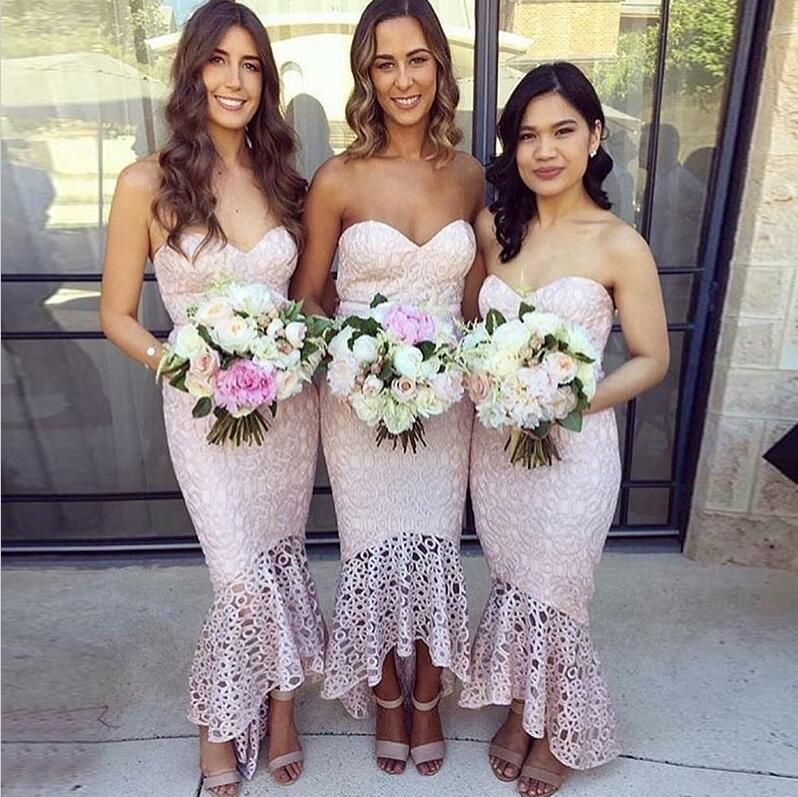 Beautiful Sweetheart Mermaid Lace Cheap Wedding Bridesmaid Dresses, WG358 - Wish Gown