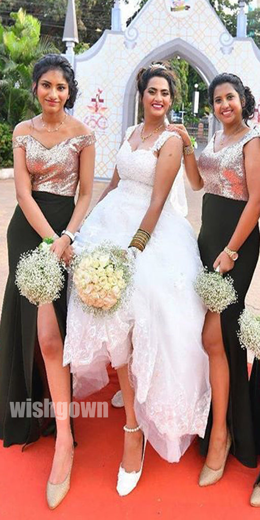 Off the Shoulder Side Slit Mermaid Long Bridesmaid Dresses YPS107