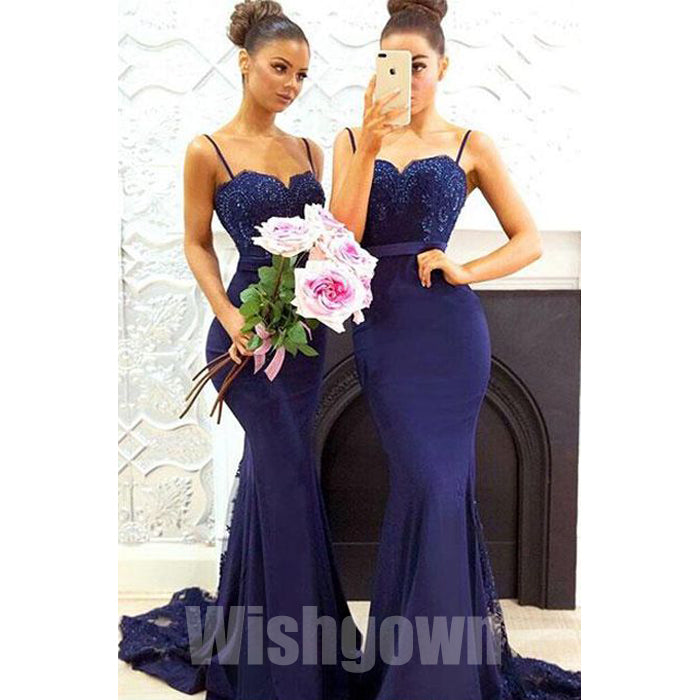 Popular Mermaid Sexy Spaghetti Strap Lace Long Wedding Party Bridesmaid Dresses, WG475