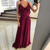 Chiffon Open Back Floor-Length A Line Formal Cheap Sexy Bridesmaid Dresses, WG52 - Wish Gown