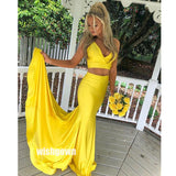 Yellow Two Pieces Mermaid Long Bridesmaid Dresses YPS108