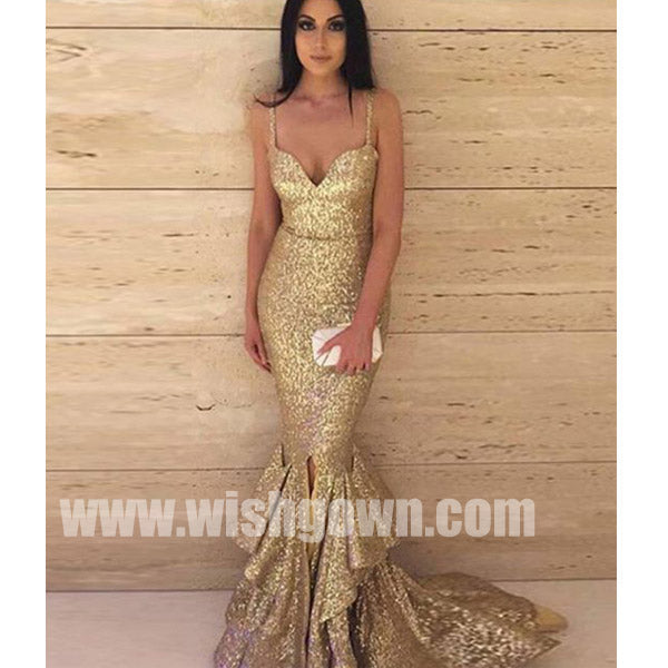 Spaghetti Strap Mermaid Gold Sequin Cheap Sexy Long Bridesmaid Dresses, WG492