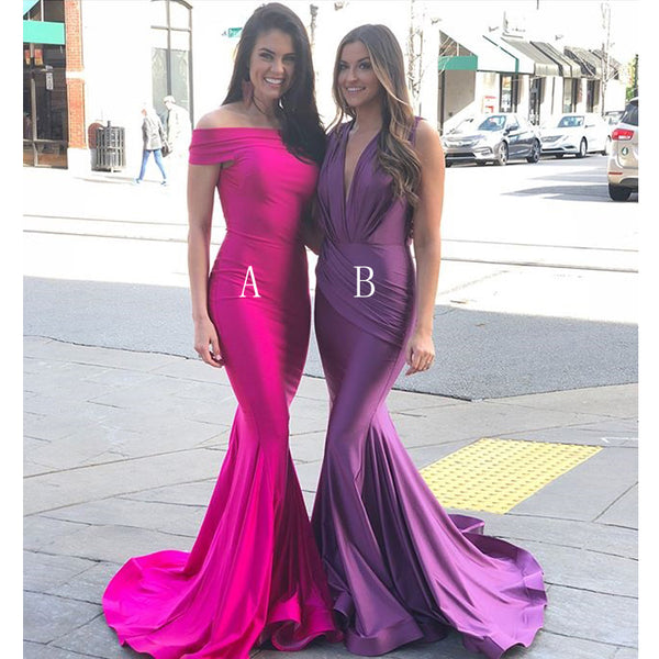 Mermaid Sexy Off the Shoulder Long Bridesmaid Dresses YPS102