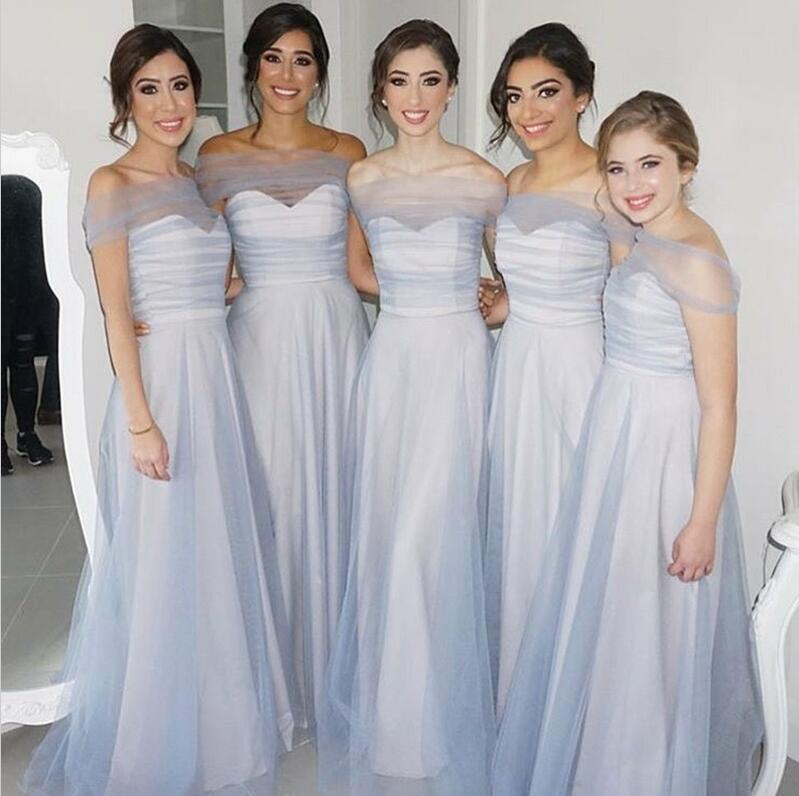 Elegant Off the Shoulder Charming Formal A Line Cheap Bridesmaid Dresses, WG147 - Wish Gown