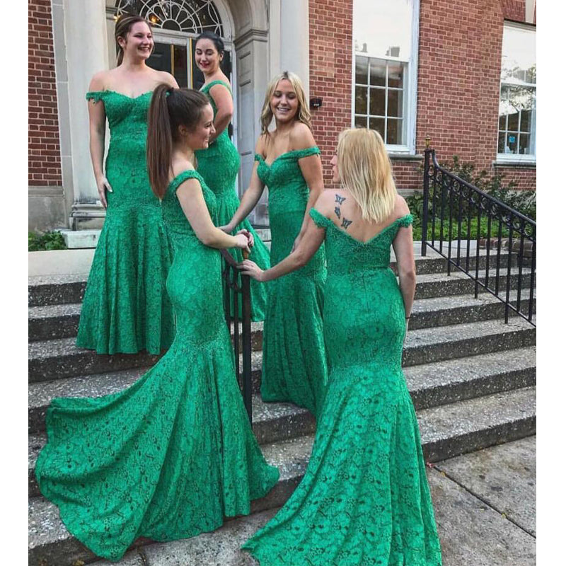 Green Lace Off the Shoulder Mermaid Long Bridesmaid Dresses, SG165