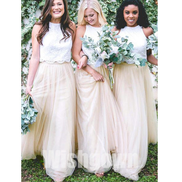 2 Pices Charming Lace Top Tulle Cheap Long Wedding Bridesmaid Dresses, WG468 - Wish Gown