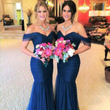 Elegant Off Shoulder Sweet Heart Mermaid Tulle Cheap Bridesmaid Dresses, WG19 - Wish Gown