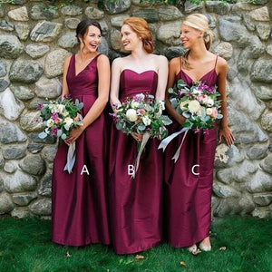 Elegant Mismatched Simple Cheap Long Wedding Bridesmaid Dresses, WG328