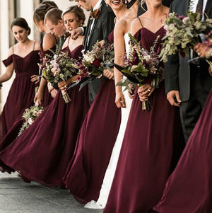 Elegant Sweetheart Chiffon Floor Length Cheap Long Bridesmaid Dresses, WG378
