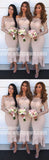 Off the Shoulder Long Sleeves Lace Mermaid Tea Length Bridesmaid Dresses, WG478