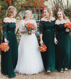 Long Sleeves Off the Shoulder Lace Long Bridesmaid Dresses, WG458