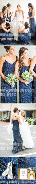 Elegant Spaghetti Strap Popular Sequin Long Wedding Bridesmaid Dresses, WG481 - Wish Gown