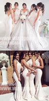 Charming Halter Mermaid Elegant Cheap Long Wedding Bridesmaid Dresses, WG484