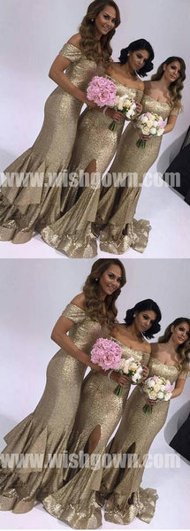 Most Popular Off the Shoulder Mermaid Sequin Cheap Long Bridesmaid Dresses, WG491