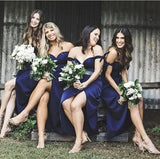 Off the Shoulder Side Slit Sexy Popular Lovely Cheap Bridesmaid Dresses, WG48