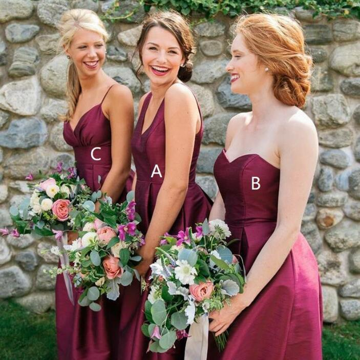 Elegant Mismatched Simple Cheap Long Wedding Bridesmaid Dresses, WG328 - Wish Gown