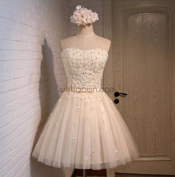 Lovely Junior Lace Beaded Short Sweetheart homecoming dresses, CM0032