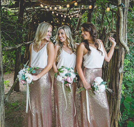 Elegant Sequin Long Formal Cheap Wedding Party Bridesmaid Dresses, WG035 - Wish Gown