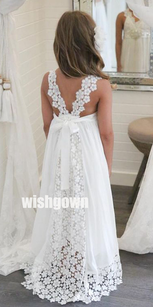 Pretty White Sleeveless Lace Wedding Flower Girl Dresses, FGD012