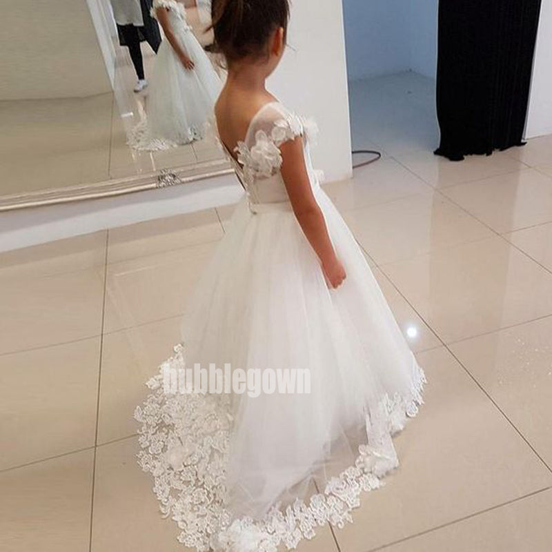Elegant White  Cap Sleeve Tulle Long Wedding Flower Girl Dresses, FGD014
