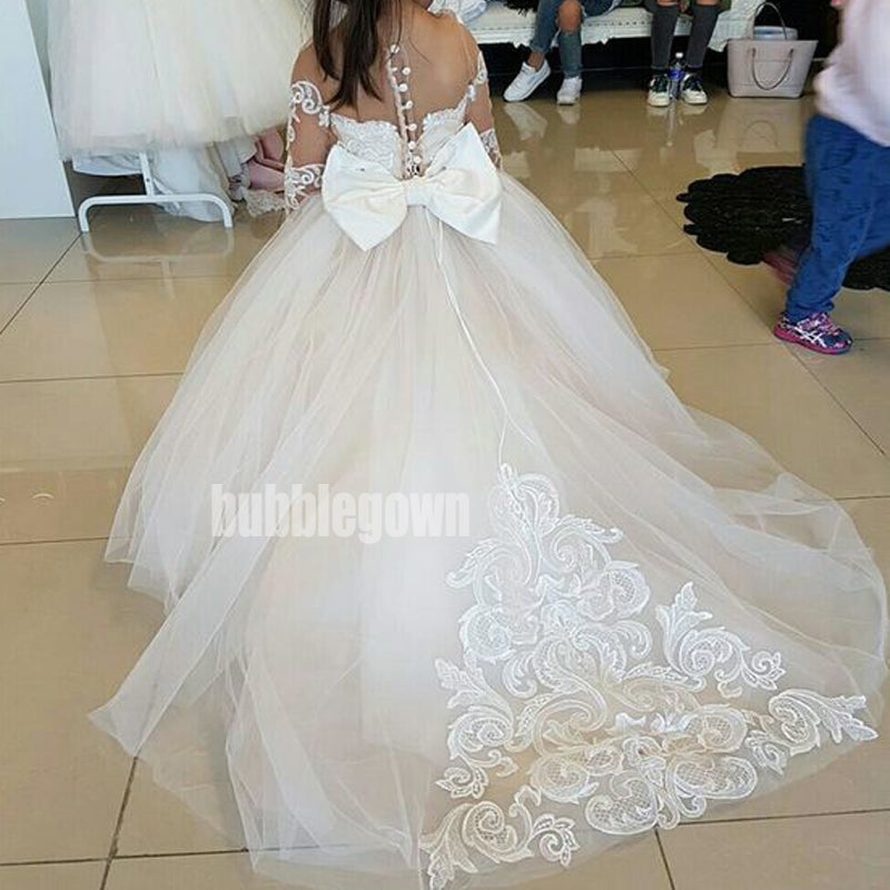 Elegant A-line Long Sleeve Tulle Long Wedding Flower Girl Dresses, FGD015