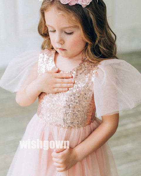 Cute A-line Sequin Blush Pink  Tulle  Wedding Flower Girl Dresses, FGD016