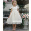Cute A-line Lace Short Sleeve Tulle Wedding Flower Girl Dresses, FGD017