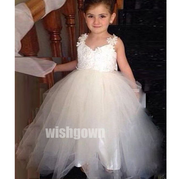 Pretty Princess V-back Lace Top Tulle Wedding Flower Girl Dresses, FGD018