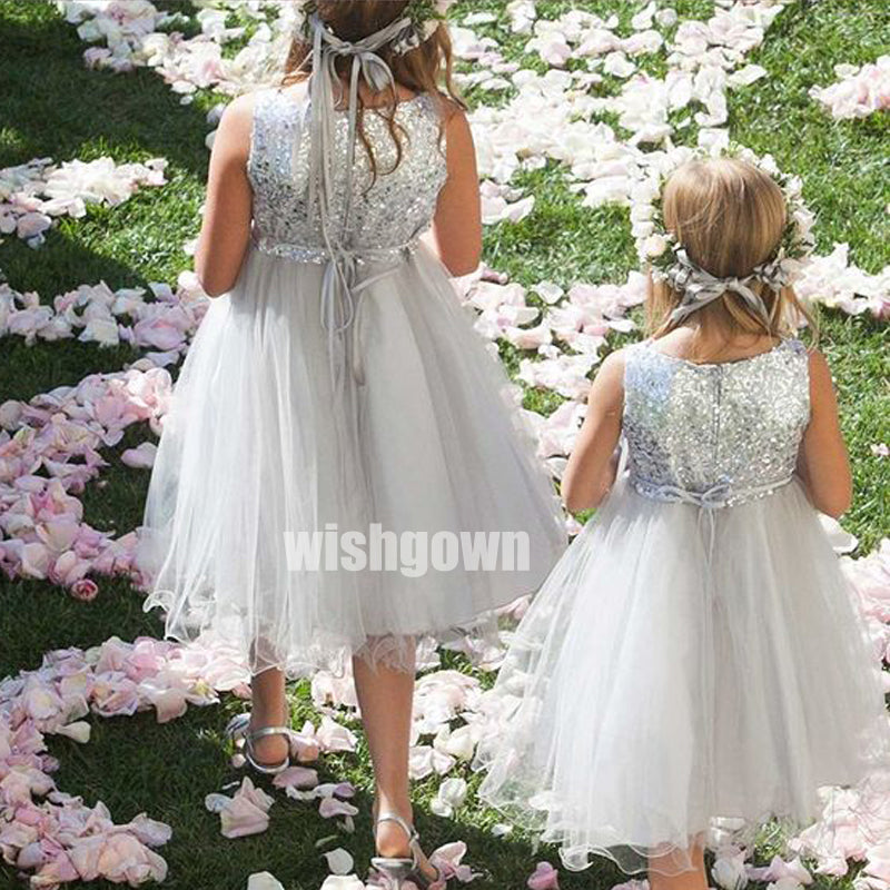 Pretty Grey Sleeveless Sequin Organza Wedding Flower Girl Dresses, FGD019