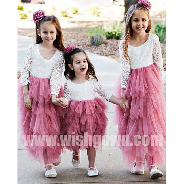 1a6e516db69 Long Sleeves Lace Top Inexpensive Long Lovely Flower Girl Dresses ...