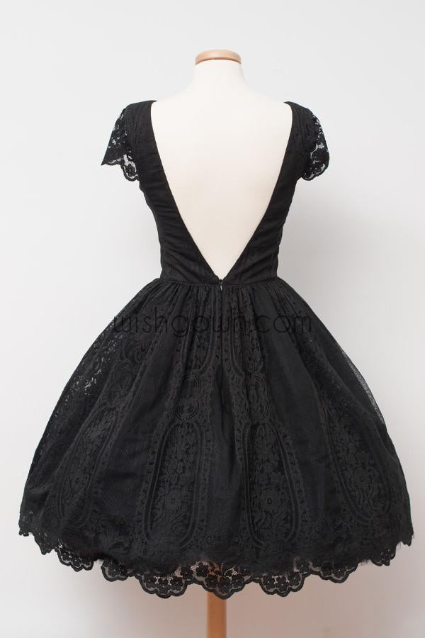 Short Sleeves Little Black Lace Cheap Short Homecoming Dresses, BD00130