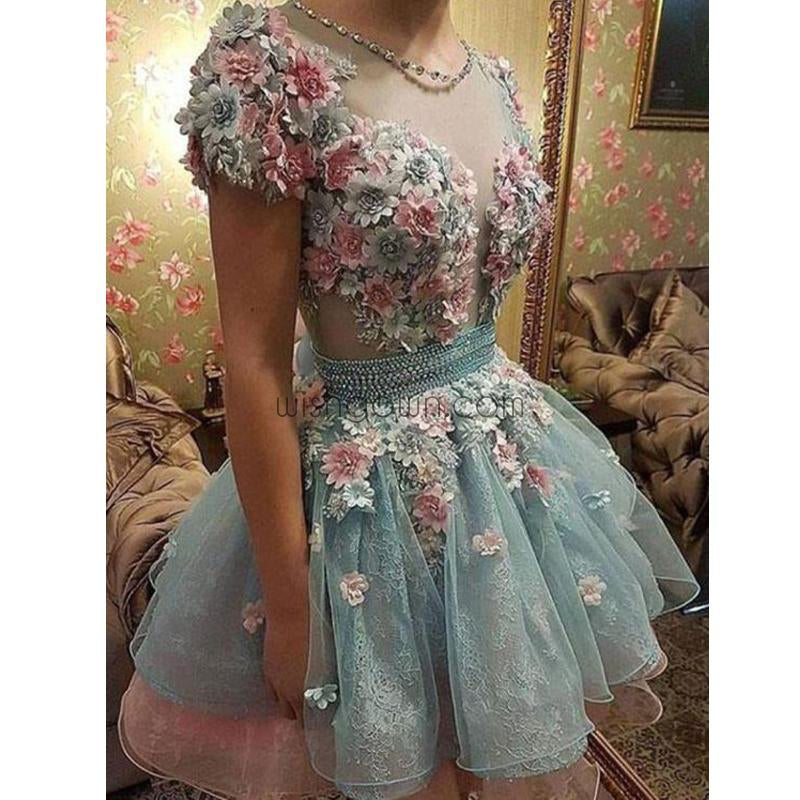 Gorgeous Short Sleeves Pretty Flowers Lovely Cheap Homecoming Dresses, BD0063 - Wish Gown