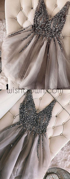 Sparkle Charming V Neck Party Cocktail Evening Short Homecoming Dress, PD0179