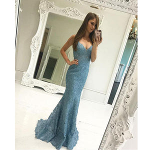 Blue Elegant Lace Mermaid Spaghetti Strap Cheap Prom Dresses, WG244